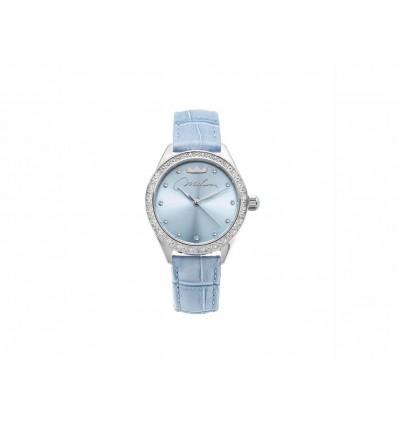 Miluna orologio donna in acciaio con zirconi e cinturino pelle